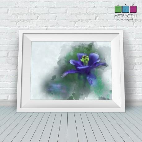 Kwiaty ogrodowe - akwarele - niebieski