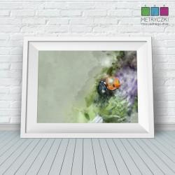 Kwiaty ogrodowe - biedronka - akwarele - zielony