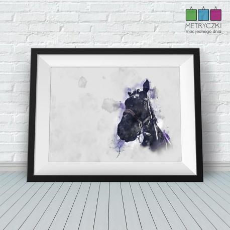 Koń - akwarele - niebieski