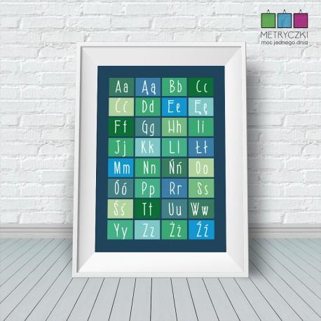 Alfabet kafelkowy - niebiesko-zielony