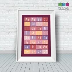 Alfabet kafelkowy - różowo-kremowy