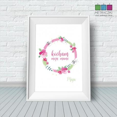 Plakat na Dzień Matki - polne kwiaty róż/zieleń