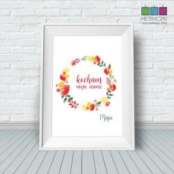 Plakat na Dzień Matki - polne kwiaty czerwień/zieleń