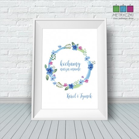 Plakat na Dzień Matki - polne kwiaty niebieski