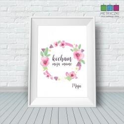 Plakat na Dzień Matki - bratki róż/czerń